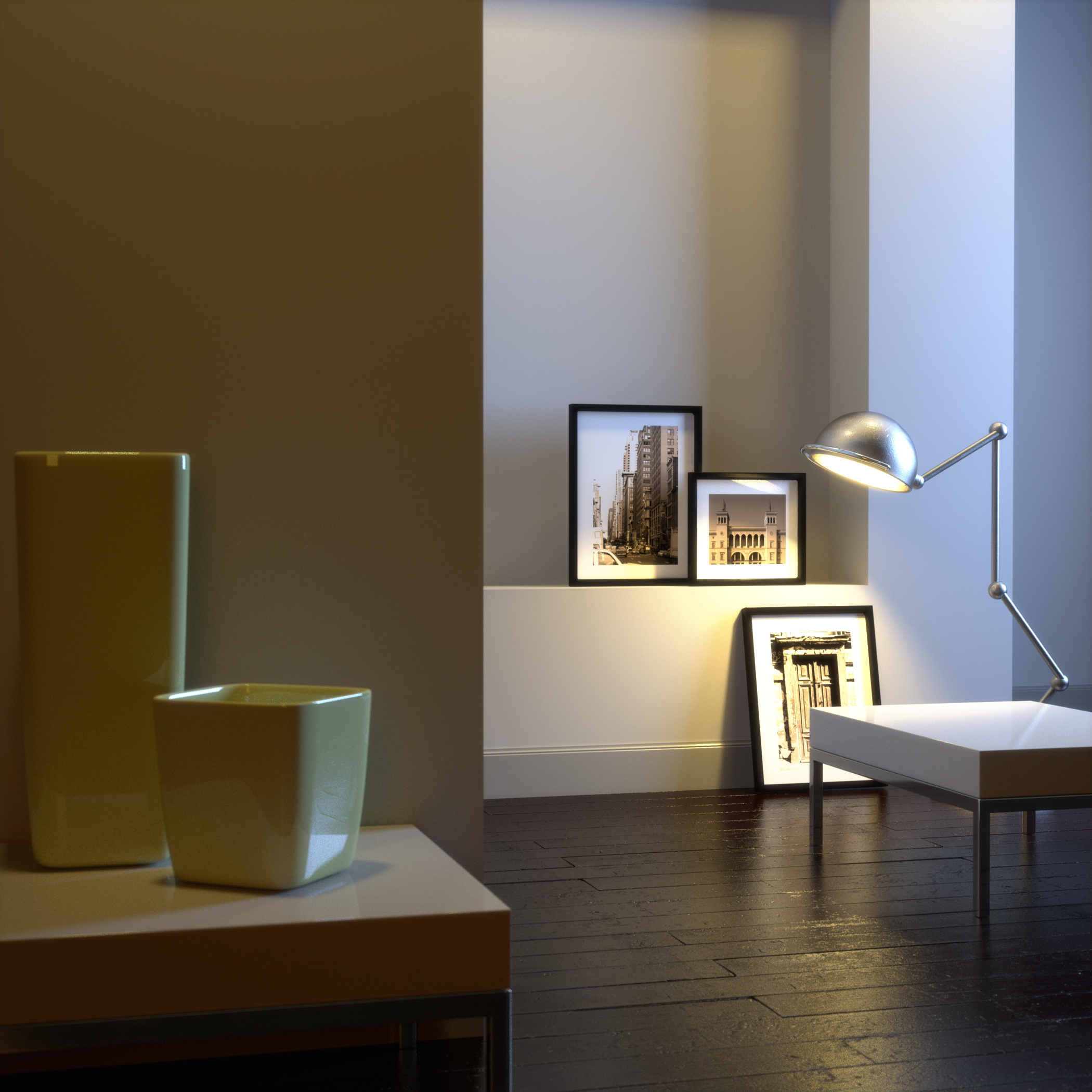 Modern interior with chrome lamp and frames