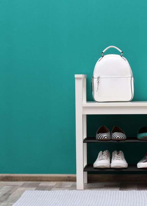 Entrée avec meuble à chaussures et tapis blancs, mise en valeur par notre bleu turquoise ÉMERAUDE - N°2007 Peintures 1825