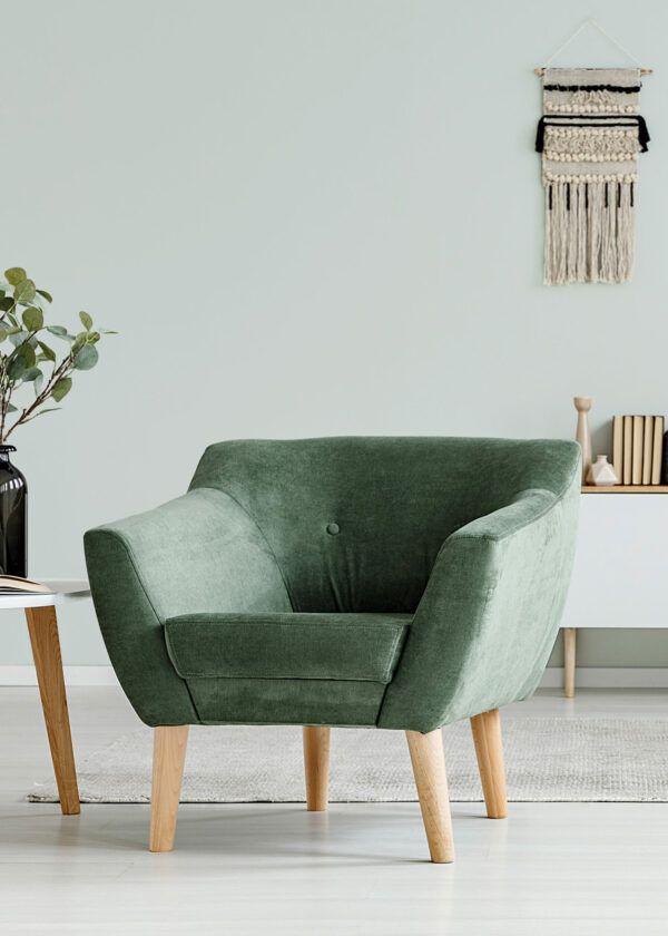 Salon avec fauteuil en velours vert, mis en valeur par notre gris clair ALUMINIUM - N°1979 Peintures 1825