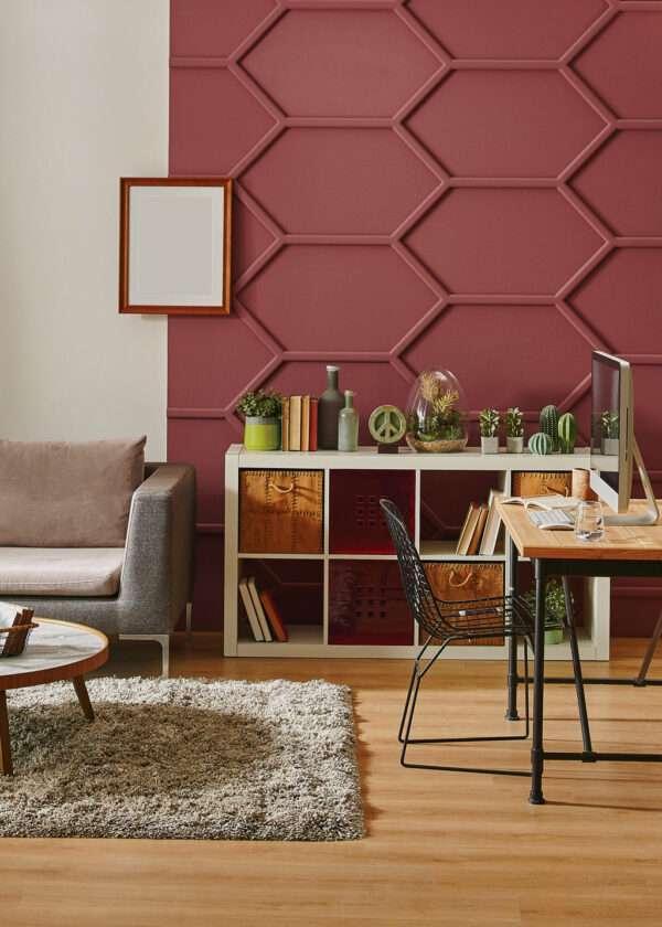 Salon et pièce de vie moderne et végétal, mis en valeur par notre rouge bordeau et brun BRUNELLO - N°1874 Peintures 1825