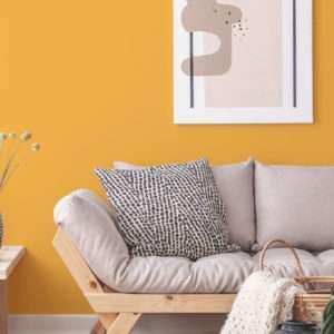 Salon avec canapé scandinave en tissu gris, mis en valeur par notre jaune orangé KURKUMA - N°1866 Peintures 1825