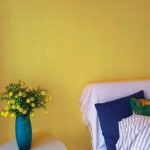 Salon avec canapé blanc, mis en valeur par notre jaune ocre MORDORÉ - N°2008 Peintures 1825
