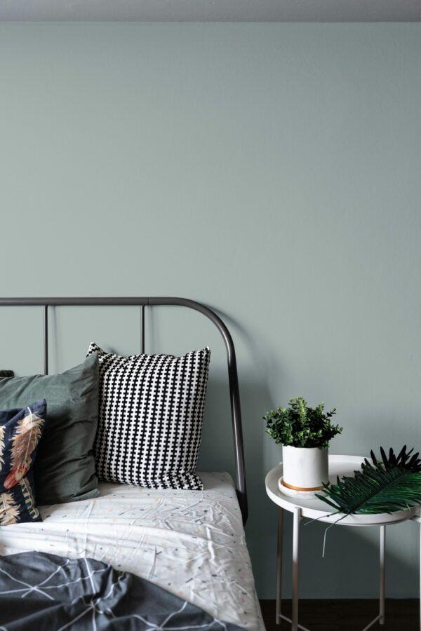 Chambre à coucher avec lit en métal noir, mis en valeur par notre gris PÉLICAN - N°1985 Peintures 1825
