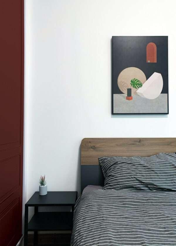 Chambre à coucher moderne et épurée, mise en valeur par notre rouge brun TERRE D'OMBRE - N°2068. Peintures 1825