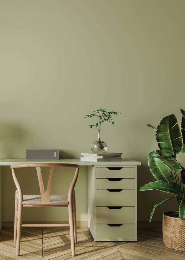 Bureau simple et épuré, mis en valeur par notre vert clair TILLEUL - N°1955. Peintures 1825
