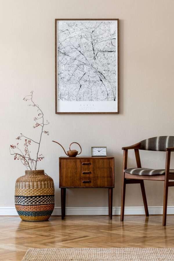 Salon avec parquet et meubles en bois, mis en valeur par notre beige TOURTERELLE - N°1960 Peintures 1825