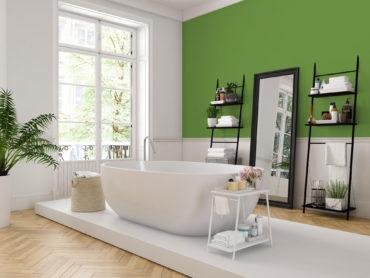 Salle de bain design avec mobilier blanc et noir, mise en valeur par notre vert pomme IRISH GREEN - N°2004 Peintures 1825