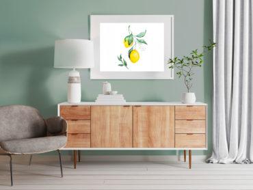 Salon avec meuble blanc en bois et illustration de citrons, mis en valeur par notre vert gris VERT DE GRIS - N°1951 Peintures 1825
