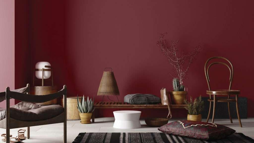 Salon oriental et chaud, mis en valeur par notre rouge bordeaux BACCHUS - N°1876, Peintures 1825