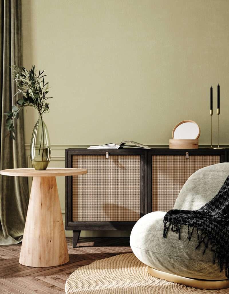 Salon cosy et naturel, mis en valeur par notre teinte vert mousse TILLEUL - N°1955. Peintures 1825